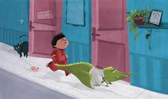 Lililabaleine_expeditiongropipi Illustration, Crocodile, Comme, Childrens Books, Dinosaur Stuffed Animal, Cats, Pink, Animals, Inspiration