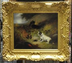 """GEORGE ARMFIELD (1808-1893) """"TERRIERS RATTING"""" OIL ON CANVAS PAINTING WITH BRIGHT BEAUTIFUL COLORING AND IMPRESSIONIST FRAME. Height: 39 and 24 in. by Width: 42 and 29 in. by Depth: 5 in."""