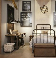 inspiration - metal bed frame and fabric panel (from Ikea?