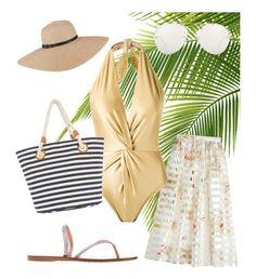 """""""Golden Beach Outfit"""" by satamo-e on Polyvore featuring Fendi, Martha Medeiros, Pedro García and Linda Farrow"""