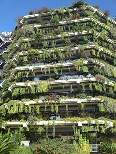 Honey I left the plant growing… Green building in Barcelona, Spain.