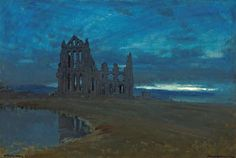 nervoustemple:Albert Goodwin - Whitby Abbey, North Yorkshire (1910)