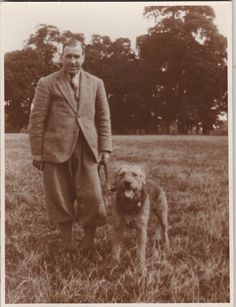 Man w/ Knickers and Airedale Terrier c. 1930's