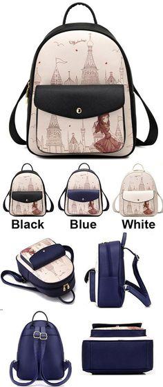 Sweet Girl's PU Cartoon Travel Backpack Church Tower Girl Printing School Backpack for big sale! #tower #girl #cartoon #PU #backpack #bag