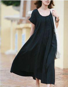 Navy blue Women Summer dress Flax/Plus size/Sundress Maxi dress/Loose casual Pleat  pocket short sleeve long Linen Dress/Day dress/top S-XXL on Etsy, $55.99