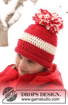 """Crochet DROPS hat in """"Alaska"""". ~ DROPS Design"""