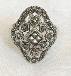 Art Deco Sterling Marcasite Ring Openwork by VintageVogueTreasure #ecochic #vintagejewelry