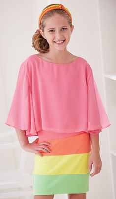 From CWDkids: Bell Sleeve Chiffon Blouse & Color Block Skirt  #tweenfashion