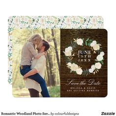 Rustic Floral Romantic Woodland and engagement Photo wedding Save the Date Card