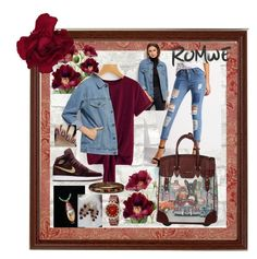 """""""Romwe Denim Jacket Contest"""" by aurorasblueheaven ❤ liked on Polyvore featuring Nicole Lee, Kate Spade and Anne Klein"""