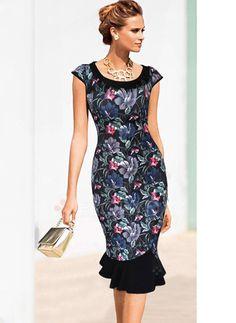 Dresses - $50.00 - Lace Floral Cap Sleeve Mid-Calf Elegant Dresses (01955090987)