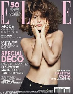 Cover with Laetitia Casta September 2008 of FR based magazine Elle France from Lagardère Group including details.