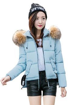 Woo2u Women Slim Fur Hooded Quilted Cotton Padded Coat ** You can get more details here : Plus size coats