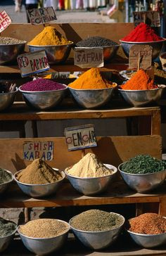 Selection of spices at market stall, Egypt. Photo: Lonely Planet Images, Chris Mellor