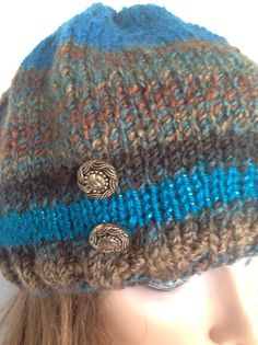 Beanie Slouch Beret Hat Multicolors Decorative by HANDKNITS2LOVE