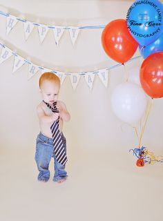 1st Birthday Session.  Love the tie & jeans.