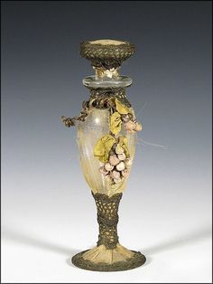 Antique Perfume Bottle with Metallic Lace, Stumpwork and Wire Grapes, Ribbon Work Decoration, and Pleated Chiffon