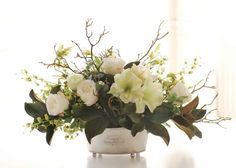 AMARYLLIS MAGNOLIA LEAF CENTERPIECE (DP518-WHGR) - Winward Home silk flower arrangements