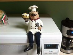 Fat Chef wine chef figurine approximately 6 in tall made from resin Fat Chef Kitchen Decor, Italian Cooking, Cold Porcelain, French, Colour, Baking, Ideas, Mantle, Kitchen
