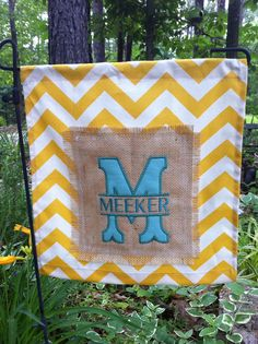 Chevron burlap personalized yard flag