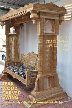 Manufacturer of Wooden Single Swing, Wooden Carved Swing, Wooden Swing and Wooden outdoor Swing from Jodhpur www. Purple Furniture, Royal Furniture, Indian Furniture, Living Furniture, Home Decor Furniture, Furniture Design, Wood Furniture, Kerala Traditional House, Wooden Dining Set