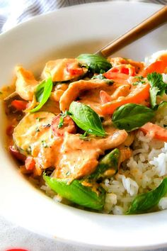 30 MINUTE Thai Red Curry Chicken tastes straight out of a restaurant! Its wonderfully thick and creamy, bursting with flavor, so easy and all in one pot! Definitely a new fav at our house! Red Curry Chicken, Thai Red Curry, Thai Chicken, Coconut Chicken, Thai Vegetable Curry, Indian Food Recipes, Asian Recipes, Healthy Recipes, Ethnic Recipes