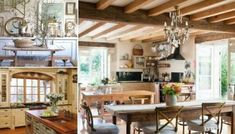 24 Simple French Country Kitchen Decor Ideas – Decoradeas – Newest Rug Collections Country Dining Rooms, Country Style Kitchen, Kitchen Cabinet Styles, Country Interior Decorating, Country Interior Design, Country Style Homes, Country House Decor, French Country Dining Room, French Country Kitchens