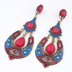 Cardboard Plum Red Gemstone Decorated Waterdrop Shape Design Alloy Stud Earrings www.asujewelry.com