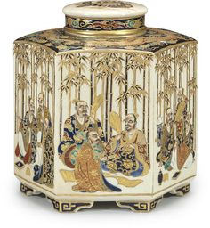 A hexagonal Satsuma tea caddy and cover By Masanobu, Meiji era (late 19th century) // Set on bracket feet and painted in polychrome enamels and gilt on a clear crackled ground with a continuous design of sages in a bamboo grove, the shoulders decorated with dragons among clouds, the interior lid with stylized floral scroll and a chrysanthemum finial; signed Satsuma-yaki Masanobu, sealed sha and with the Shimazu family crest. - Maria Elena Garcia -  ► www.pinterest.com/megardel/ ◀︎