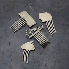 Brass Hair Combs by Wsake