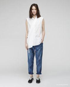 Y's / Front Wrap China Shirt  Y's / Ribbed Panel Jean  Yohji Yamamoto / Topsider