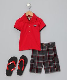 Take a look at this Red Polo Set - Toddler & Boys by Kids Headquarters on #zulily today!