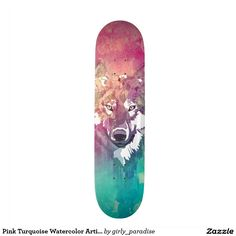 Pink Turquoise Watercolor Artistic Abstract Wolf Skate Board