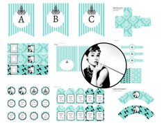 Breakfast at Tiffany's Baby Shower, Breakfast at Tiffany's Bridal Shower Printable Games, instant Download, FREE Printables, Tiffany Photo Booth Props,