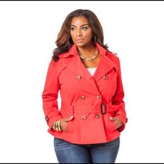 Short peplum Trench Coat ( Poinsettia color) A stylish double-breasted front and a removable belt. Size 18/20 Ashley Stewart Jackets & Coats