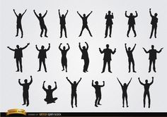 Men celebrating success silhouettes, they are raising their hands in different positions; perfect to promote success seminars for business, etc. Under Commons 4.0. Attribution License.