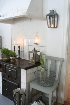 grey hues in and old farmhouse kitchen