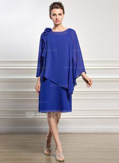 A-Line/Princess Scoop Neck Knee-Length Beading Flower(s) Sequins Zipper Up Sleeves Long Sleeves No Royal Blue General Plus Chiffon US 4 / UK 8 / EU 34 Mother of the Bride Dress Bridal Party Dresses, Bride Dresses, Wedding Dresses, Special Occasion Dresses, Mother Of The Bride, Marie, Ready To Wear, Scoop Neck, Fashion Dresses
