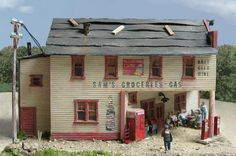 Old Gas Station & Grocery Store ~ Model Train Diorama