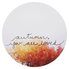 I loved loving autumn best with you around to love it with me.... How do the colors look from where you are?