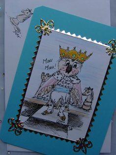 Der König aus dem Spiel der Könige sollte weise sein, also: eine Eule :))  Aber so richtig ist er bei dem Spiel scheinbar nicht auf dem laufenden...