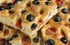 Focaccia pugliese - Fresh baked focaccia bread  with tomatoes and olives