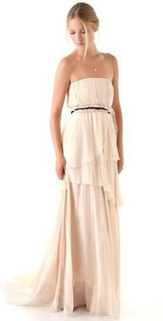 Beach Wedding Dress : For the nontraditional bride, this gown's off-white hue and relaxed shape would be an ideal option.