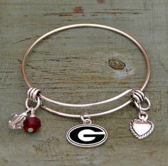 Georgia Bulldogs Memory Wire Logo Charm Bracelet