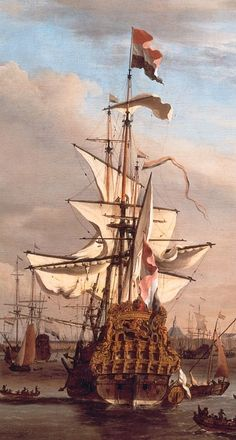 Cut of the IJ to Amsterdam with the 'Golden Lion', the former flagship of Cornelis Tromp by Willem van de Velde the Younger. Anglo Dutch Wars, Bateau Pirate, Old Sailing Ships, Ship Drawing, Ship Paintings, Nautical Art, Dutch Painters, Navy Ships, Ship Art