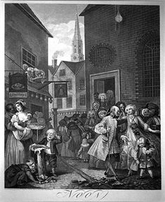 William Hogarth 'Noon from Four Times of the Day'. St Giles Church and Rookery (slum)