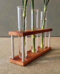 Test Tube Vase, Glass, Wood, Metal Bud Vase, With Three Tubes