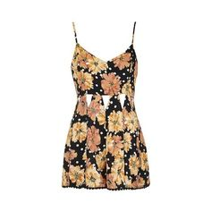TopShop Tall Floral Cut-Out Playsuit ($53) ❤ liked on Polyvore featuring jumpsuits, rompers, multi, floral romper, tall romper, floral print romper, floral rompers and flower print romper