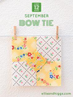 6 Köpfe 12 Blöcke – September: Bow Tie Quilt Block Quilting Projects, Sewing Projects, Quilting 101, Quilting Ideas, Quilt Patterns, Sewing Patterns, Homemade Wedding Gifts, Quilt Storage, Tie Quilt
