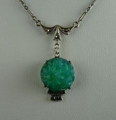 Sterling Marcasite and Faux Jade Molded Glass Lavalier Necklace from ornaments on Ruby Lane